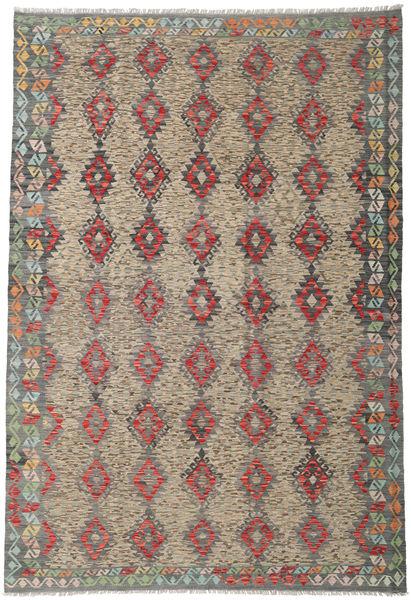 Kilim Afghan Old Style Rug 210X306 Authentic  Oriental Handwoven Light Brown/Dark Grey (Wool, Afghanistan)