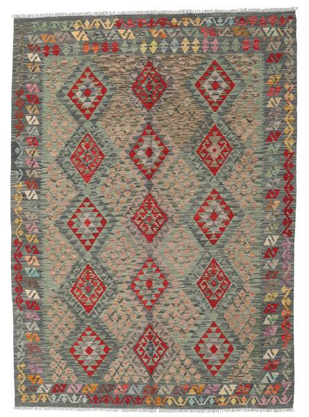 Kilim Afghan Old Style Rug 175X244 Authentic  Oriental Handwoven Light Grey/Dark Grey (Wool, Afghanistan)