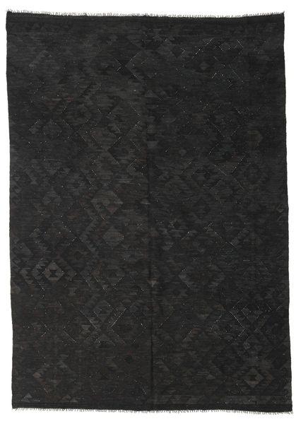 Kelim Afghan Old Style Tæppe 211X298 Ægte Orientalsk Håndvævet Sort (Uld, Afghanistan)