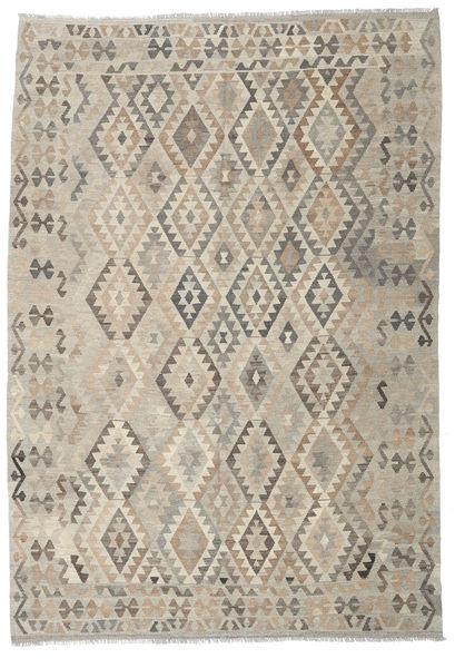 Kilim Afghan Old Style Rug 203X294 Authentic  Oriental Handwoven Light Brown/Light Grey (Wool, Afghanistan)