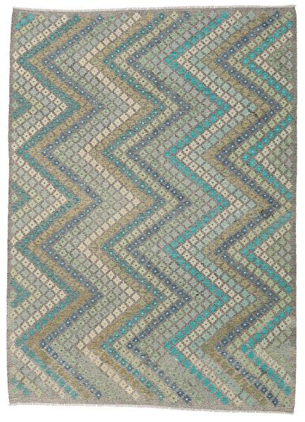 Kelim Afghan Old Style Teppich  207X284 Echter Orientalischer Handgewebter Hellgrau/Dunkelgrau (Wolle, Afghanistan)