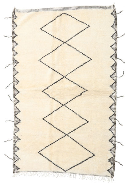 Berber Moroccan - Beni Ourain Rug 116X264 Authentic  Modern Handknotted Hallway Runner  Beige/Light Pink (Wool, Morocco)