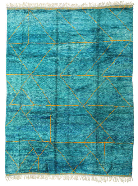 Berber Moroccan - Mid Atlas Rug 300X400 Authentic  Modern Handknotted Turquoise Blue/White/Creme Large (Wool, Morocco)