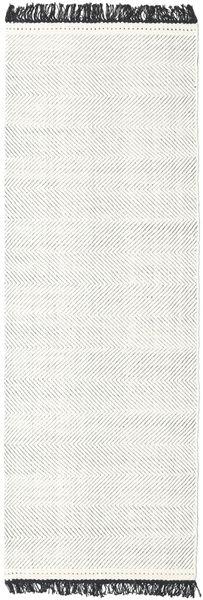 Barfi - Svart/Vit Matta 80X250 Äkta Modern Handvävd Hallmatta Ljusgrå/Beige (Ull, Indien)