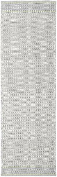 Norma - Green Rug 80X250 Authentic  Modern Handwoven Hallway Runner  Light Grey/White/Creme (Cotton, India)