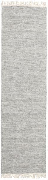 Melange - Grau Teppich  80X400 Echter Moderner Handgewebter Läufer Hellgrau/Beige (Wolle, Indien)