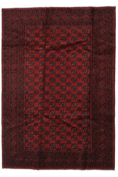 アフガン 絨毯 197X281 オリエンタル 手織り 濃い茶色/深紅色の (ウール, アフガニスタン)