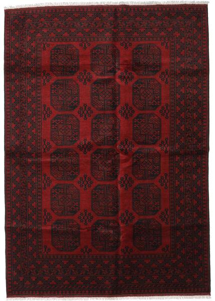 Afghan Matta 201X282 Äkta Orientalisk Handknuten Mörkbrun/Mörkröd (Ull, Afghanistan)