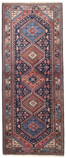 Yalameh Teppich  83X205 Echter Orientalischer Handgeknüpfter Läufer Schwartz/Dunkellila (Wolle, Persien/Iran)
