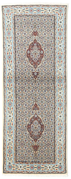 Moud Dywan 75X199 Orientalny Tkany Ręcznie Chodnik Jasnoszary/Beżowy (Wełna/Jedwab, Persja/Iran)