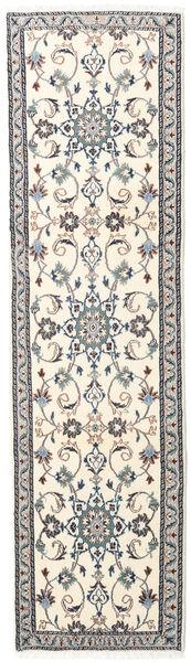 Nain Rug 76X278 Authentic  Oriental Handknotted Hallway Runner  Beige/Light Grey (Wool, Persia/Iran)