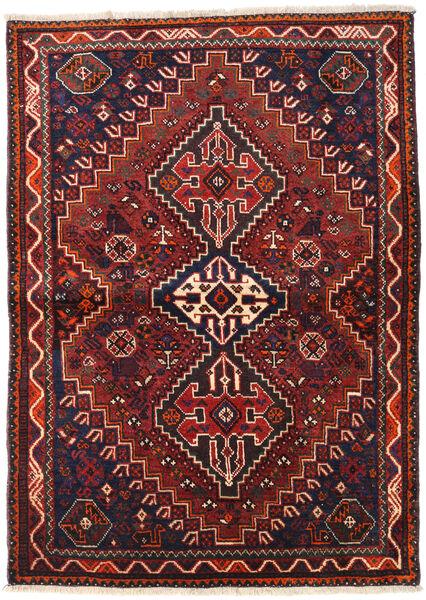 Shiraz Matto 105X146 Itämainen Käsinsolmittu Tummanpunainen/Musta (Villa, Persia/Iran)