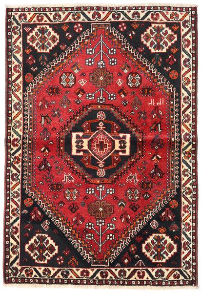 Shiraz Matto 106X154 Itämainen Käsinsolmittu Musta/Tummanpunainen (Villa, Persia/Iran)