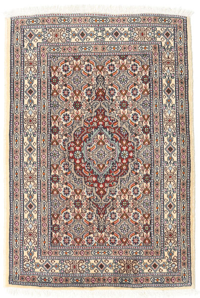 Moud Rug 61X89 Authentic  Oriental Handknotted Light Grey/Beige (Wool/Silk, Persia/Iran)