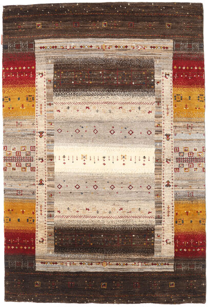 Gabbeh Loribaft Matto 123X184 Moderni Käsinsolmittu Tummanruskea/Beige (Villa, Intia)