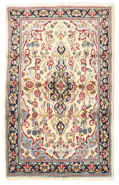 Kerman Rug 88X140 Authentic  Oriental Handknotted Light Brown/Beige (Wool, Persia/Iran)