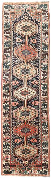 ヤラメー 絨毯 90X322 オリエンタル 手織り 廊下 カーペット 黒/茶 (ウール, ペルシャ/イラン)