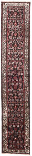 ホセイナバード 絨毯 75X405 オリエンタル 手織り 廊下 カーペット 濃い茶色/濃いグレー (ウール, ペルシャ/イラン)