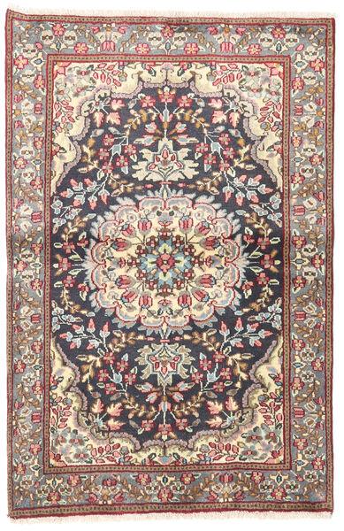Kerman Vloerkleed 92X140 Echt Oosters Handgeknoopt Beige/Donkergrijs (Wol, Perzië/Iran)