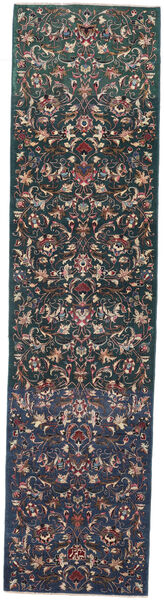 Mashad Patina Rug 95X386 Authentic  Oriental Handknotted Hallway Runner  Dark Grey/Dark Brown (Wool, Persia/Iran)
