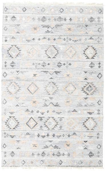 Pet Yarn Kilim Tapis 160X230 Moderne Tissé À La Main Blanc/Crème/Gris Clair ( Inde)
