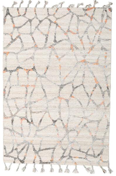 Pet Yarn Kelim Matto 160X234 Moderni Käsinkudottu Vaaleanharmaa/Valkoinen/Creme ( Intia)
