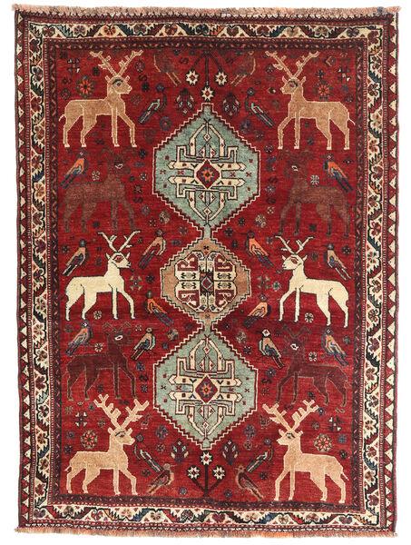 Shiraz Rug 130X177 Authentic  Oriental Handknotted Dark Red/Dark Brown (Wool, Persia/Iran)