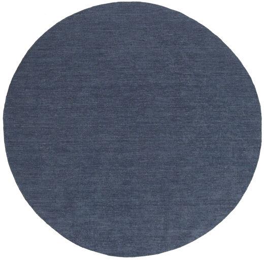 Kilim Loom - Denim Niebieski Dywan Ø 250 Nowoczesny Tkany Ręcznie Okrągły Niebieski Duży (Wełna, Indie)