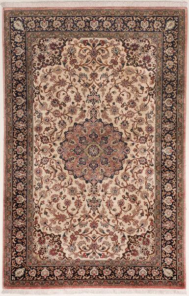 Qum Silk Rug 75X122 Authentic  Oriental Handknotted Dark Brown/Brown (Silk, Persia/Iran)