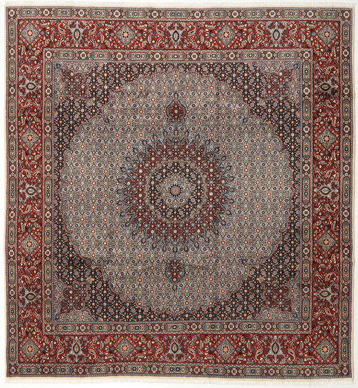 Moud Rug 250X270 Authentic  Oriental Handknotted Square Dark Brown/Dark Red Large (Wool/Silk, Persia/Iran)