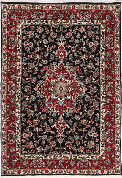 Ghom Kork/Seide Teppich  110X160 Echter Orientalischer Handgeknüpfter Dunkelbraun/Dunkelrot (Wolle/Seide, Persien/Iran)