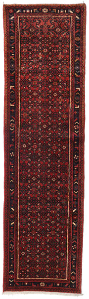 Hosseinabad Rug 85X308 Authentic  Oriental Handknotted Hallway Runner  Dark Red/Dark Brown (Wool, Persia/Iran)