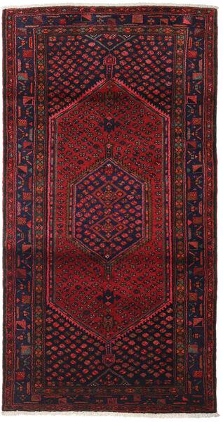 Hamadan Tappeto 102X198 Orientale Fatto A Mano Rosso Scuro/Marrone Scuro (Lana, Persia/Iran)