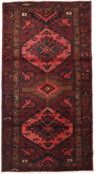 Hamadan Teppich  107X207 Echter Orientalischer Handgeknüpfter Dunkelrot/Dunkelbraun (Wolle, Persien/Iran)