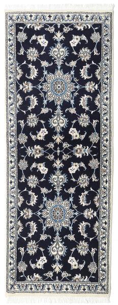 Nain Rug 75X200 Authentic  Oriental Handknotted Hallway Runner  Black/Light Grey (Wool, Persia/Iran)