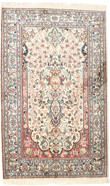 Kashmir Pure Silk Rug 80X128 Authentic  Oriental Handknotted White/Creme/Beige (Silk, India)