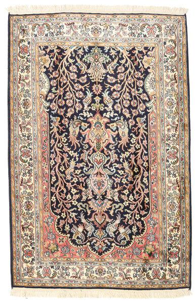 Kashmir Pure Silk Rug 79X136 Authentic  Oriental Handknotted Dark Grey/Beige (Silk, India)