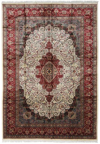 Kashmir Art. Silk Rug 274X394 Authentic  Oriental Handknotted Dark Brown/Light Brown Large ( India)