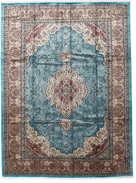 Kashmir Art. Silk Rug 276X370 Authentic  Oriental Handknotted Light Grey/Black Large ( India)