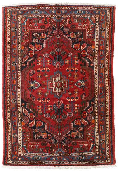 Hamadan Rug 128X176 Authentic  Oriental Handknotted Dark Red/Rust Red (Wool, Persia/Iran)