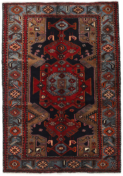Hamadan Rug 140X200 Authentic  Oriental Handknotted Black/Dark Red (Wool, Persia/Iran)