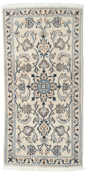Nain Rug 70X141 Authentic  Oriental Handknotted Beige/Light Grey (Wool, Persia/Iran)