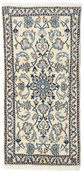 Nain Rug 67X140 Authentic  Oriental Handknotted Beige/Light Grey (Wool, Persia/Iran)