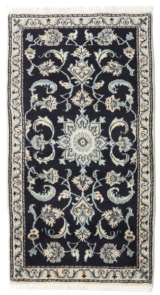 Nain Rug 72X135 Authentic  Oriental Handknotted Dark Blue/Light Grey (Wool, Persia/Iran)