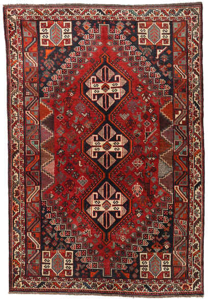 Shiraz Rug 165X241 Authentic  Oriental Handknotted Dark Red/Black (Wool, Persia/Iran)