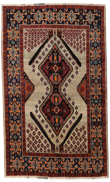 Qashqai Rug 151X246 Authentic  Oriental Handknotted Dark Brown/Dark Red/Light Brown (Wool, Persia/Iran)