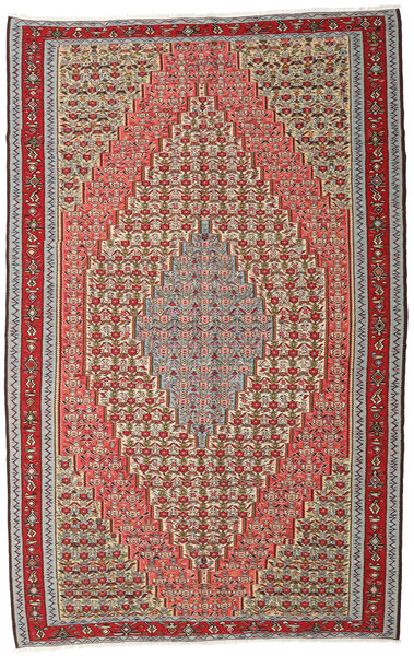 Kilim Senneh Rug 194X309 Authentic  Oriental Handwoven Dark Brown/Dark Red (Wool, Persia/Iran)
