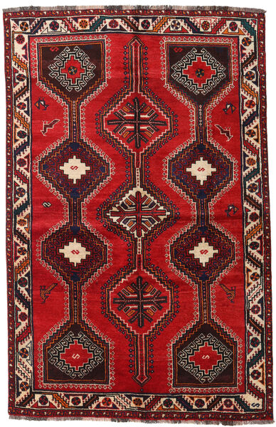 Shiraz Rug 155X241 Authentic  Oriental Handknotted Dark Red/Rust Red (Wool, Persia/Iran)