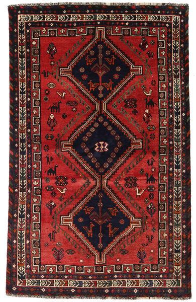 Shiraz Matto 153X242 Itämainen Käsinsolmittu Tummanpunainen/Musta (Villa, Persia/Iran)