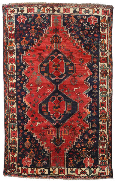 Shiraz Rug 158X250 Authentic  Oriental Handknotted Dark Blue/Dark Red (Wool, Persia/Iran)